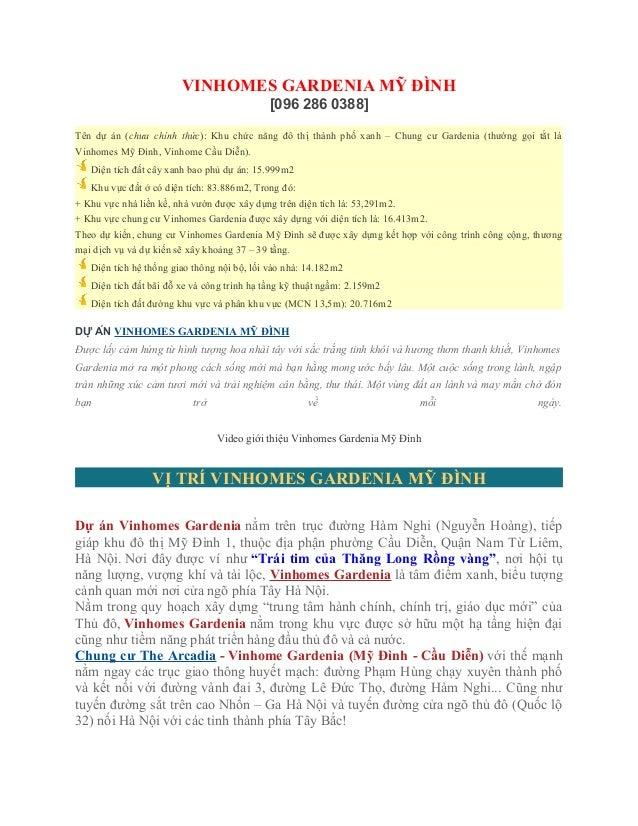 VINHOMES GARDENIA MỸ ĐÌNH [096 286 0388] Tên dự án (chưa chính thức): Khu chức năng đô thị thành phố xanh – Chung cư Garde...