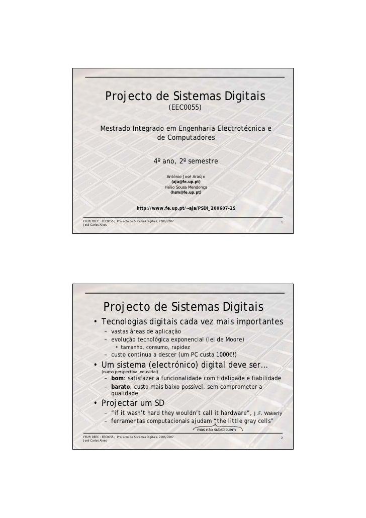 Projecto de Sistemas Digitais                                                          (EEC0055)           Mestrado Integr...