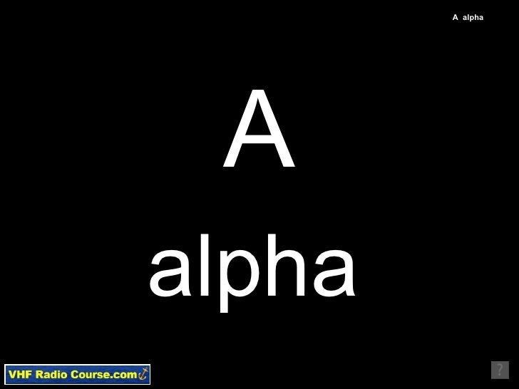 Vhfradiocourse english phonetic alphabet used for marine mayd a alpha a alpha altavistaventures Image collections