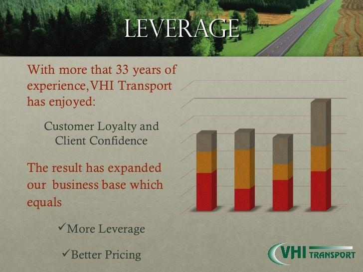 leverage <ul><li>With more that 33 years of experience,VHI Transport has enjoyed: </li></ul><ul><li>Customer Loyalty and C...