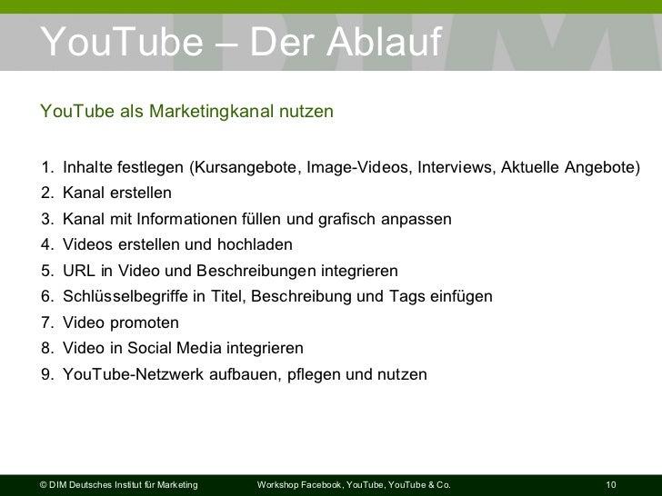 YouTube – Der Ablauf YouTube als Marketingkanal nutzen <ul><li>Inhalte festlegen (Kursangebote, Image-Videos, Interviews, ...