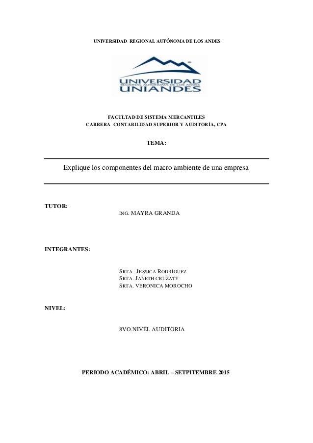 UNIVERSIDAD REGIONAL AUTÓNOMA DE LOS ANDES FACULTAD DE SISTEMA MERCANTILES CARRERA CONTABILIDAD SUPERIOR Y AUDITORÍA, CPA ...