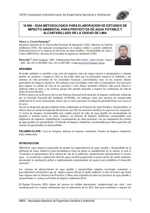 XXVII Congresso Interamericano de Engenharia Sanitária e Ambiental ABES - Associação Brasileira de Engenharia Sanitária e ...