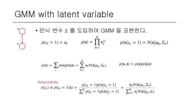 GMM with latent variable • 은닉 변수 z 를 도입하여 GMM 을 표현한다. Responsibility
