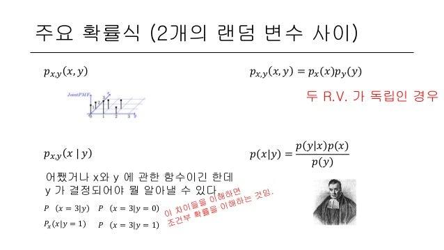 주요 확률식 (2개의 랜덤 변수 사이) 𝑝 𝑥,𝑦 𝑥, 𝑦 𝑝 𝑥,𝑦 𝑥, 𝑦 = 𝑝 𝑥(𝑥)𝑝 𝑦(𝑦) 두 R.V. 가 독립인 경우 𝑝 𝑥,𝑦 𝑥   𝑦 어쨌거나 x와 y 에 관한 함수이긴 한데 y 가 결정되어야 뭘 ...