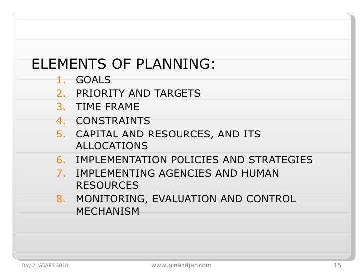 <ul><li>ELEMENTS OF PLANNING: </li></ul><ul><ul><li>GOALS </li></ul></ul><ul><ul><li>PRIORITY AND TARGETS </li></ul></ul><...