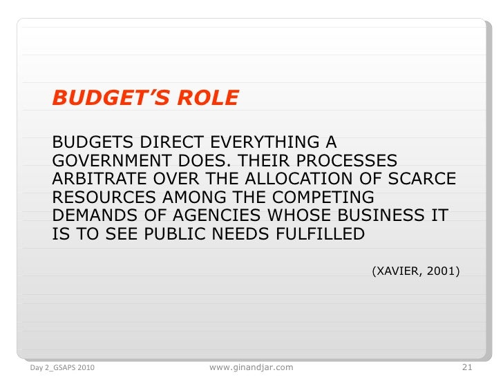 <ul><li>BUDGET'S ROLE   </li></ul><ul><li>BUDGETS DIRECT EVERYTHING A GOVERNMENT DOES. THEIR PROCESSES ARBITRATE OVER THE ...