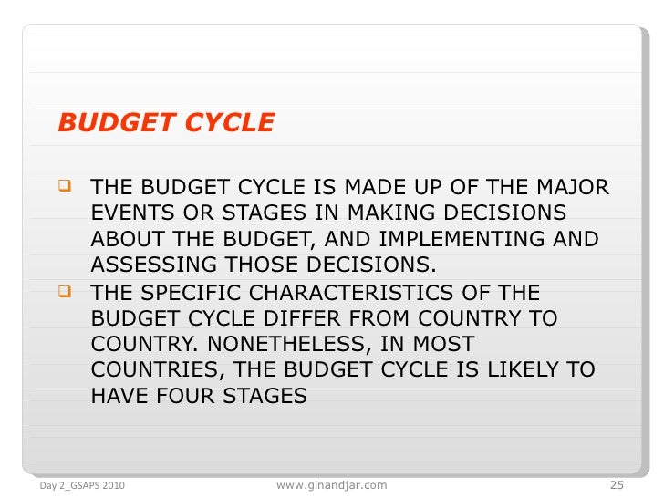 <ul><li>BUDGET CYCLE </li></ul><ul><li>THE BUDGET CYCLE IS MADE UP OF THE MAJOR EVENTS OR STAGES IN MAKING DECISIONS ABOUT...