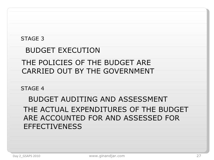 Day 2_GSAPS 2010 www.ginandjar.com STAGE 3  BUDGET EXECUTION   STAGE 4  BUDGET AUDITING AND ASSESSMENT   THE POLICIES OF T...