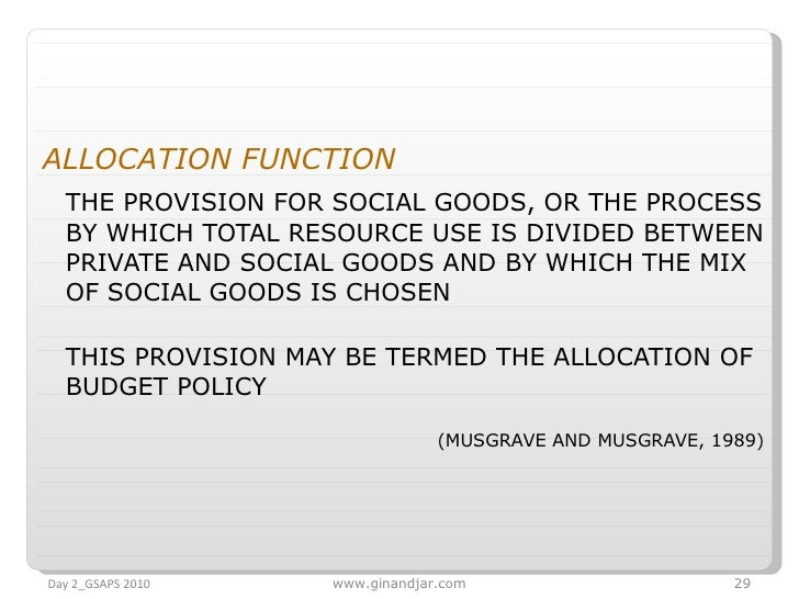 <ul><li>ALLOCATION FUNCTION   </li></ul><ul><li>THE PROVISION FOR SOCIAL GOODS, OR THE PROCESS BY WHICH TOTAL RESOURCE USE...