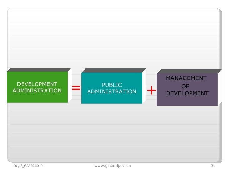 DEVELOPMENT ADMINISTRATION = PUBLIC ADMINISTRATION + MANAGEMENT  OF  DEVELOPMENT Day 2_GSAPS 2010 www.ginandjar.com
