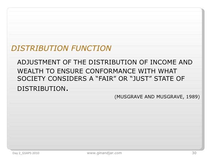 <ul><li>DISTRIBUTION FUNCTION   </li></ul><ul><li>ADJUSTMENT OF THE DISTRIBUTION OF INCOME AND WEALTH TO ENSURE CONFORMANC...
