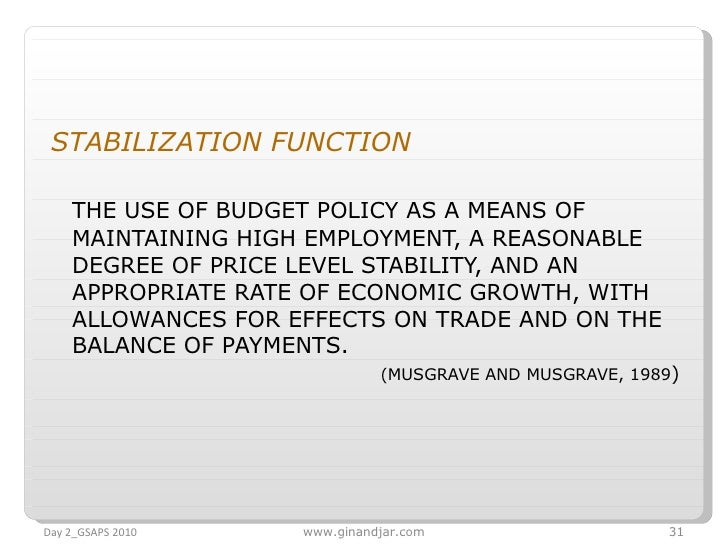 <ul><li>STABILIZATION FUNCTION  </li></ul><ul><li>THE USE OF BUDGET POLICY AS A MEANS OF MAINTAINING HIGH EMPLOYMENT, A RE...