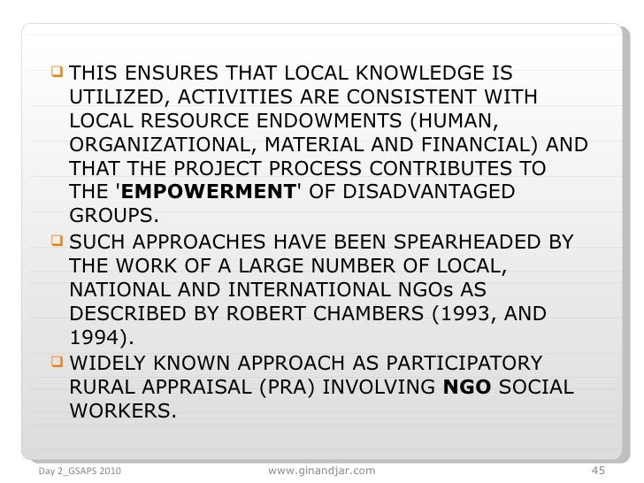 <ul><li>THIS ENSURES THAT LOCAL KNOWLEDGE IS UTILIZED, ACTIVITIES ARE CONSISTENT WITH LOCAL RESOURCE ENDOWMENTS (HUMAN, OR...