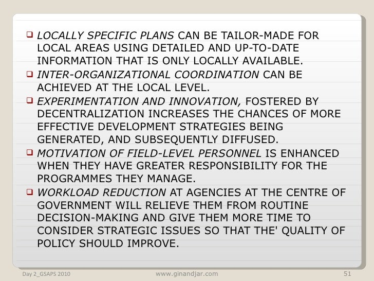 <ul><li>LOCALLY SPECIFIC PLANS  CAN BE TAILOR-MADE FOR LOCAL AREAS USING DETAILED AND UP-TO-DATE INFORMATION THAT IS ONLY ...