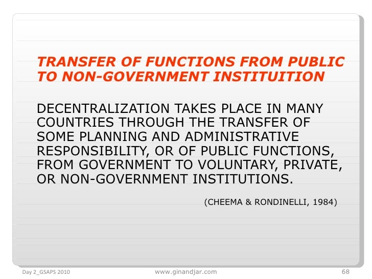 <ul><li>TRANSFER OF FUNCTIONS FROM PUBLIC TO NON-GOVERNMENT INSTITUITION   </li></ul><ul><li>DECENTRALIZATION TAKES PLACE ...