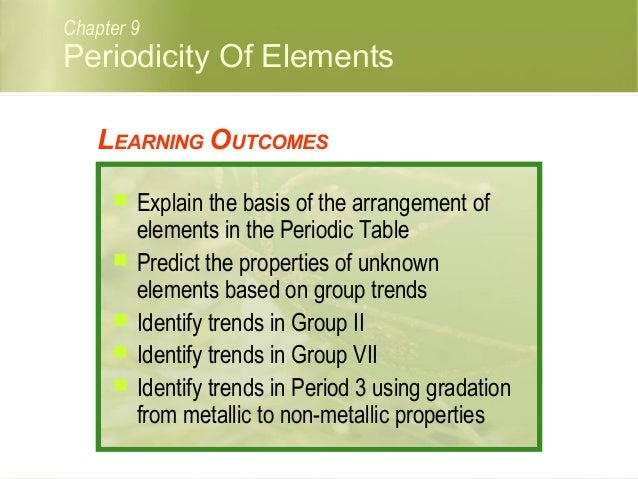 C09 periodicity of elements periodicity of elements chapter 9 learning outcomes explain the basis of the arrangement of elements urtaz Choice Image