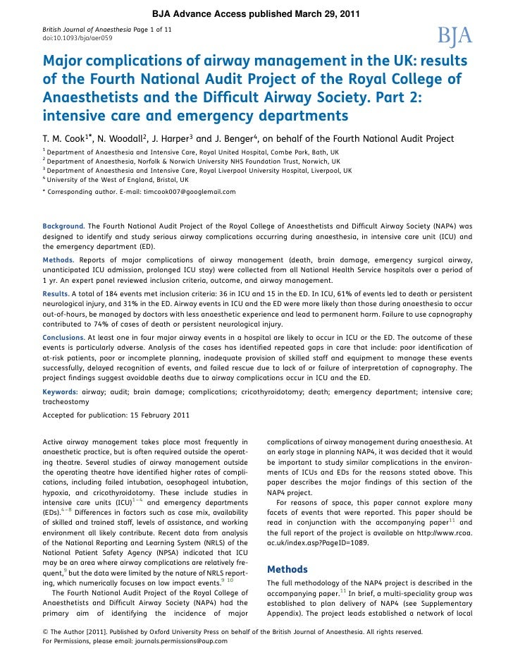 BJA Advance Access published March 29, 2011British Journal of Anaesthesia Page 1 of 11doi:10.1093/bja/aer059Major complica...