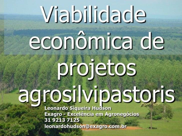 Viabilidade econômica de    projetosagrosilvipastoris  Leonardo Siqueira Hudson  Exagro - Excelência em Agronegócios  31 9...