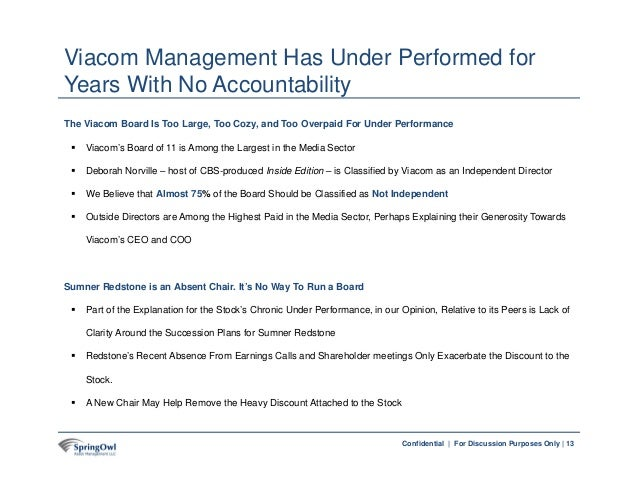 13Confidential | For Discussion Purposes Only | The Viacom Board Is Too Large, Too Cozy, and Too Overpaid For Under Perfor...