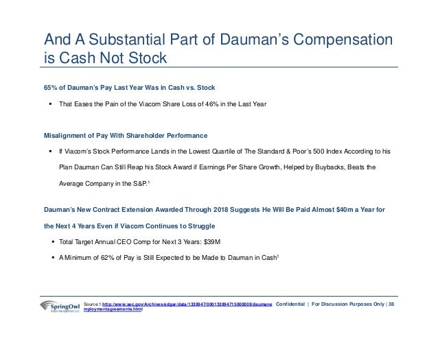 38Confidential   For Discussion Purposes Only   65% of Dauman's Pay Last Year Was in Cash vs. Stock  That Eases the Pain ...