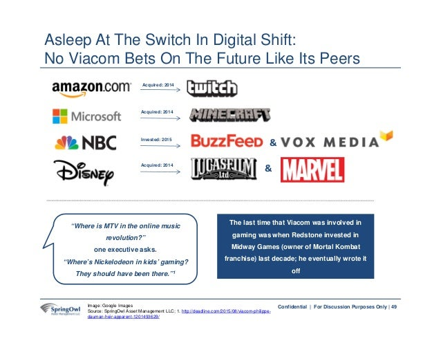 49Confidential | For Discussion Purposes Only | Asleep At The Switch In Digital Shift: No Viacom Bets On The Future Like I...