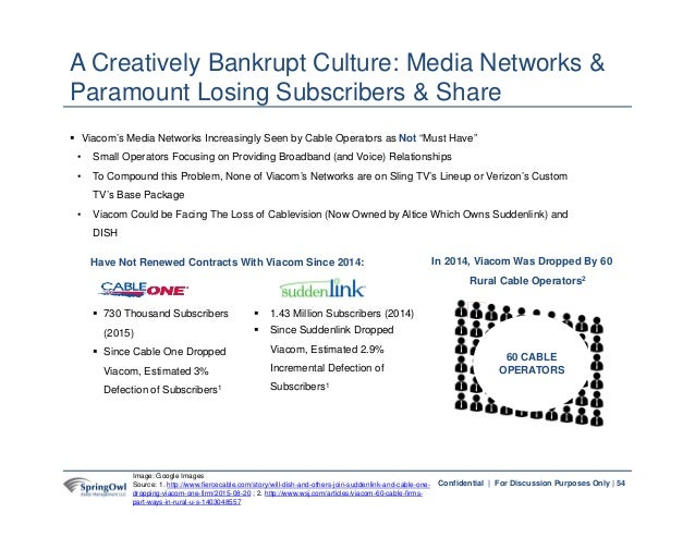 """54Confidential   For Discussion Purposes Only    Viacom's Media Networks Increasingly Seen by Cable Operators as Not """"Mus..."""