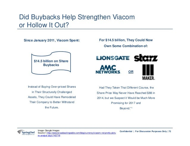 72Confidential | For Discussion Purposes Only | 72 Did Buybacks Help Strengthen Viacom or Hollow It Out? Image: Google Ima...