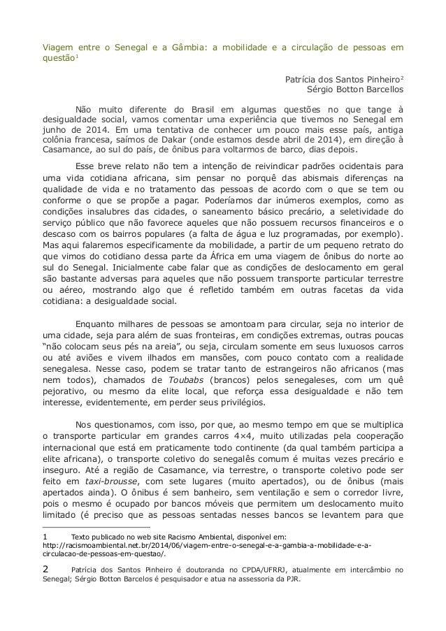 Viagem entre o Senegal e a Gâmbia: a mobilidade e a circulação de pessoas em  questão1  Patrícia dos Santos Pinheiro2  Sér...