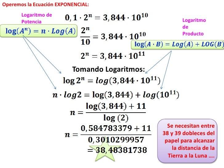 Operemos la Ecuación EXPONENCIAL:       Logaritmo de       Potencia                                         Logaritmo     ...
