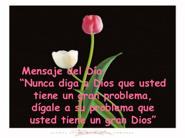 """Mensaje del Día: """"Nunca diga a Dios que usted tiene un gran problema, dígale a su problema que usted tiene un gran Dios"""""""