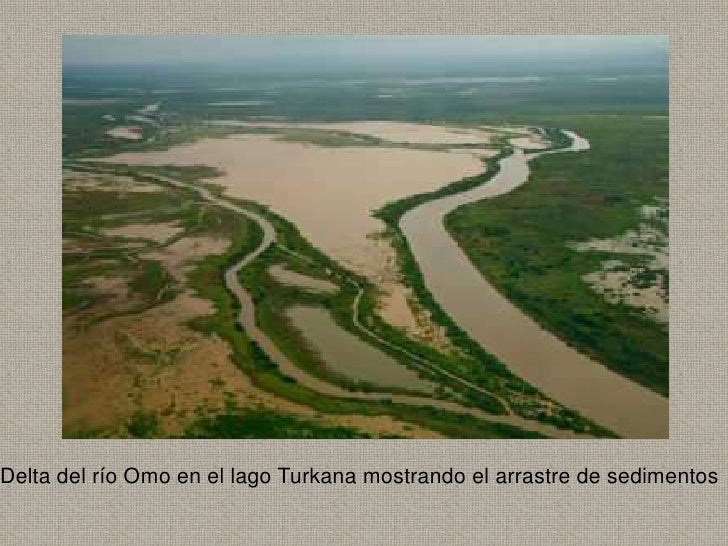 Delta del río Omo en el lago Turkana mostrando el arrastre de sedimentos