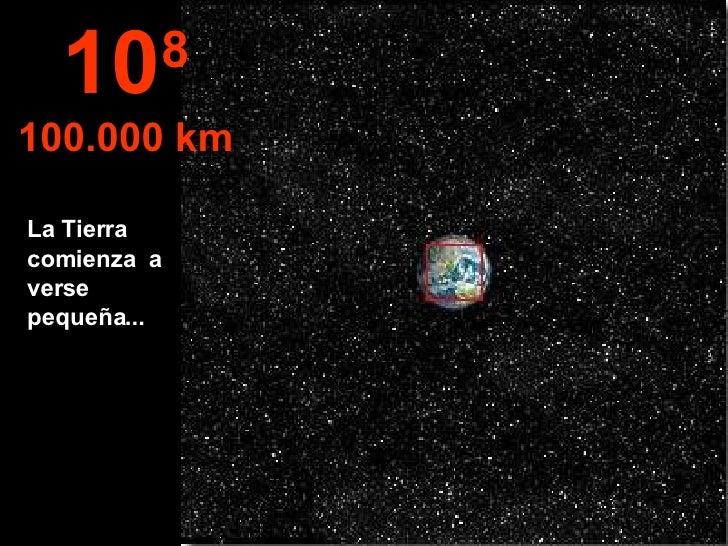 La Tierra comienza  a verse pequeña... 10 8 100.000 km