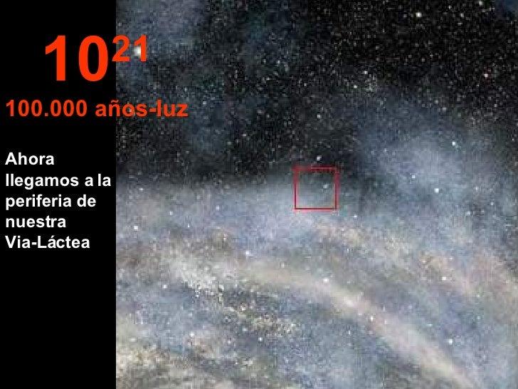 Ahora llegamos a la periferia de nuestra  Via-Láctea 10 21 100.000 años-luz