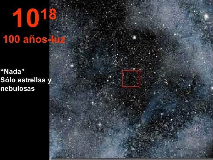 """"""" Nada""""  Sólo estrellas y nebulosas 10 18 100 años-luz"""