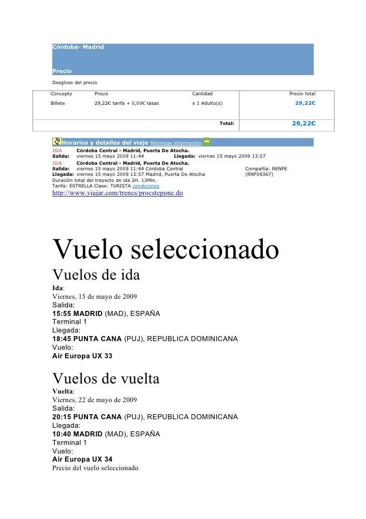 Córdoba- Madrid    Precio  Desglose del precio  Concepto         Precio                                Cantidad           ...