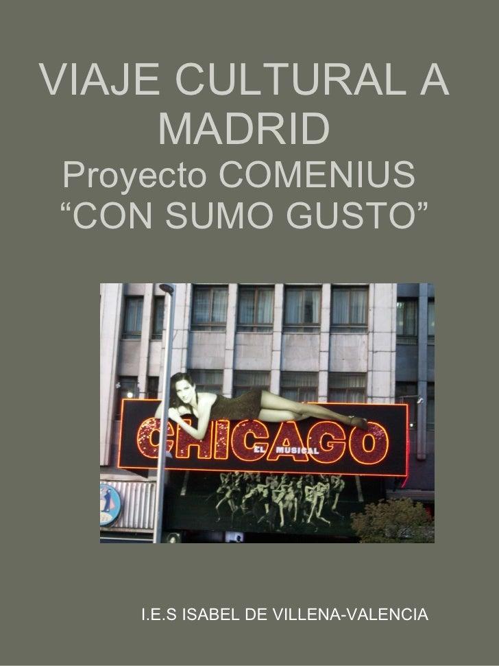 """VIAJE CULTURAL A MADRID Proyecto COMENIUS  """"CON SUMO GUSTO"""" I.E.S ISABEL DE VILLENA-VALENCIA"""
