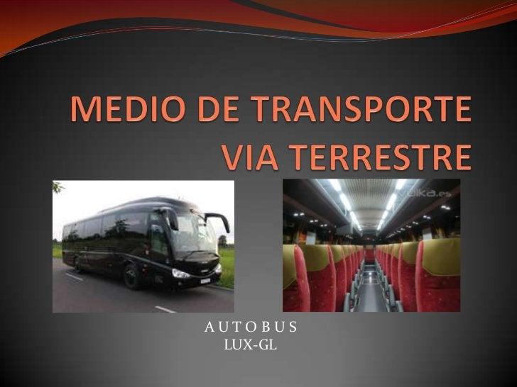 MEDIO DE TRANSPORTEVIA TERRESTRE<br />A U T O B U S <br />LUX-GL<br />