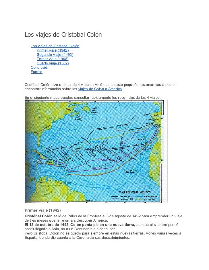 Los viajes de Cristobal Colón   Los viajes de Cristobal Colón      Primer viaje (1942)      Segundo Viaje (1493)      Terc...
