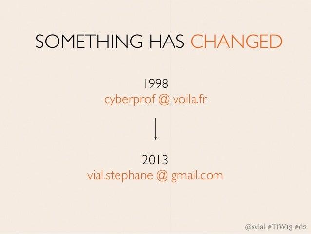 SOMETHING HAS CHANGED             1998       cyberprof @ voila.fr               2013    vial.stephane @ gmail.com         ...