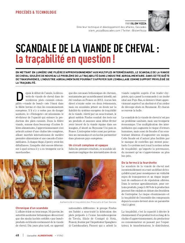 PROCÉDÉS & TECHNOLOGIE48   • V10N2Scandale de la viande de cheval:la traçabilité en question!En mettant en lumière une ...