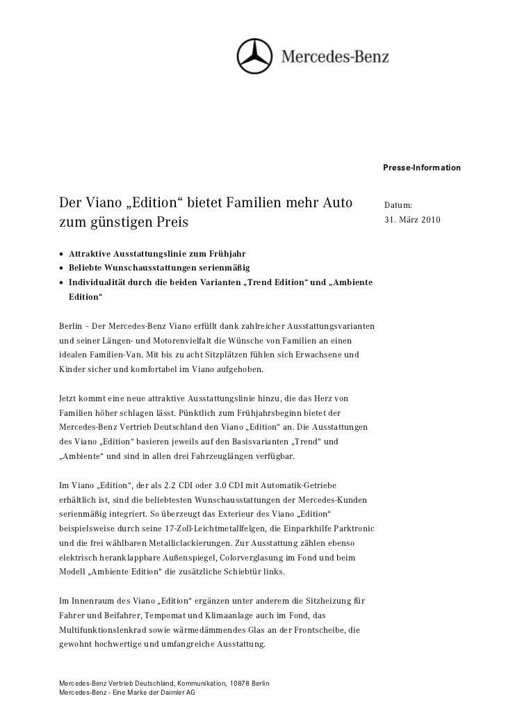 """Presse-InformationDer Viano """"Edition"""" bietet Familien mehr Auto                                        Datum:zum günstigen..."""