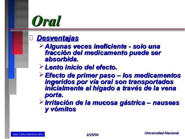 Oral                  Desventajas                     Algunas veces ineficiente - solo una                      fracción ...