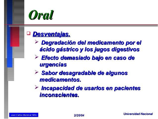 Oral                   Desventajas.                      Degradación del medicamento por el                      ácido g...