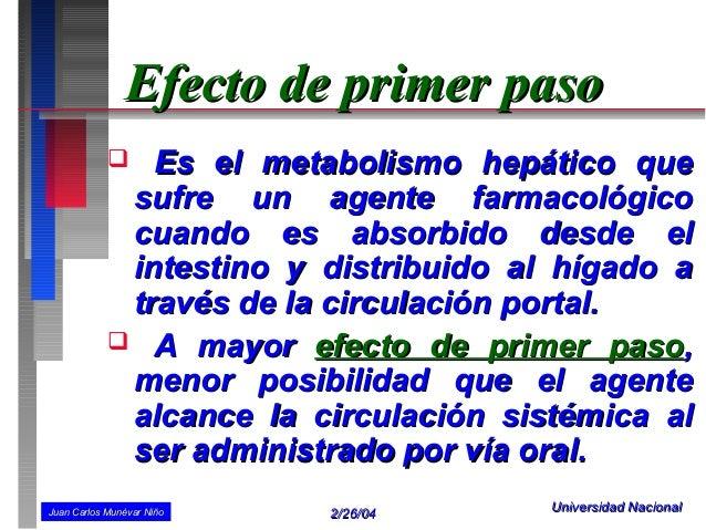 Efecto de primer paso              Es el metabolismo hepático que             sufre un agente farmacológico             c...