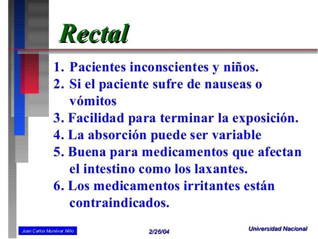 Rectal              1. Pacientes inconscientes y niños.              2. Si el paciente sufre de nauseas o                 ...