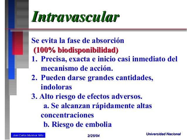 Intravascular              Se evita la fase de absorción               (100% biodisponibilidad)              1. Precisa, e...