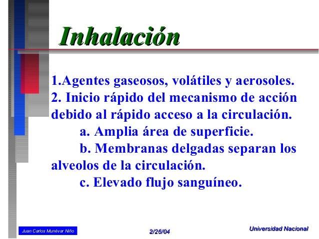 Inhalación             1.Agentes gaseosos, volátiles y aerosoles.             2. Inicio rápido del mecanismo de acción    ...