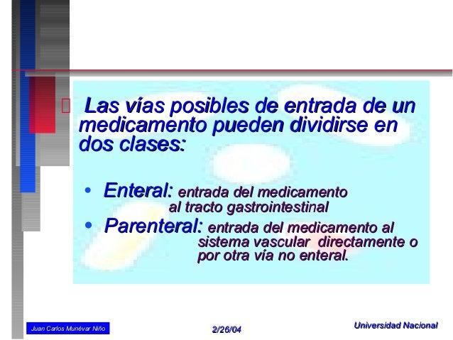 Las vías posibles de entrada de un               medicamento pueden dividirse en               dos clases:                ...