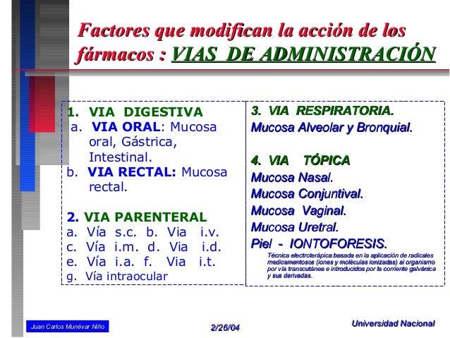 Factores que modifican la acción de los               fármacos : VIAS DE ADMINISTRACIÓN           1. VIA DIGESTIVA        ...